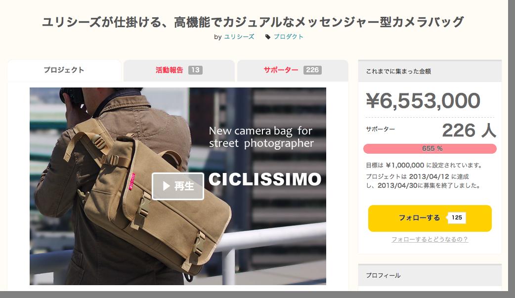 650万円集めたカメラバッグ